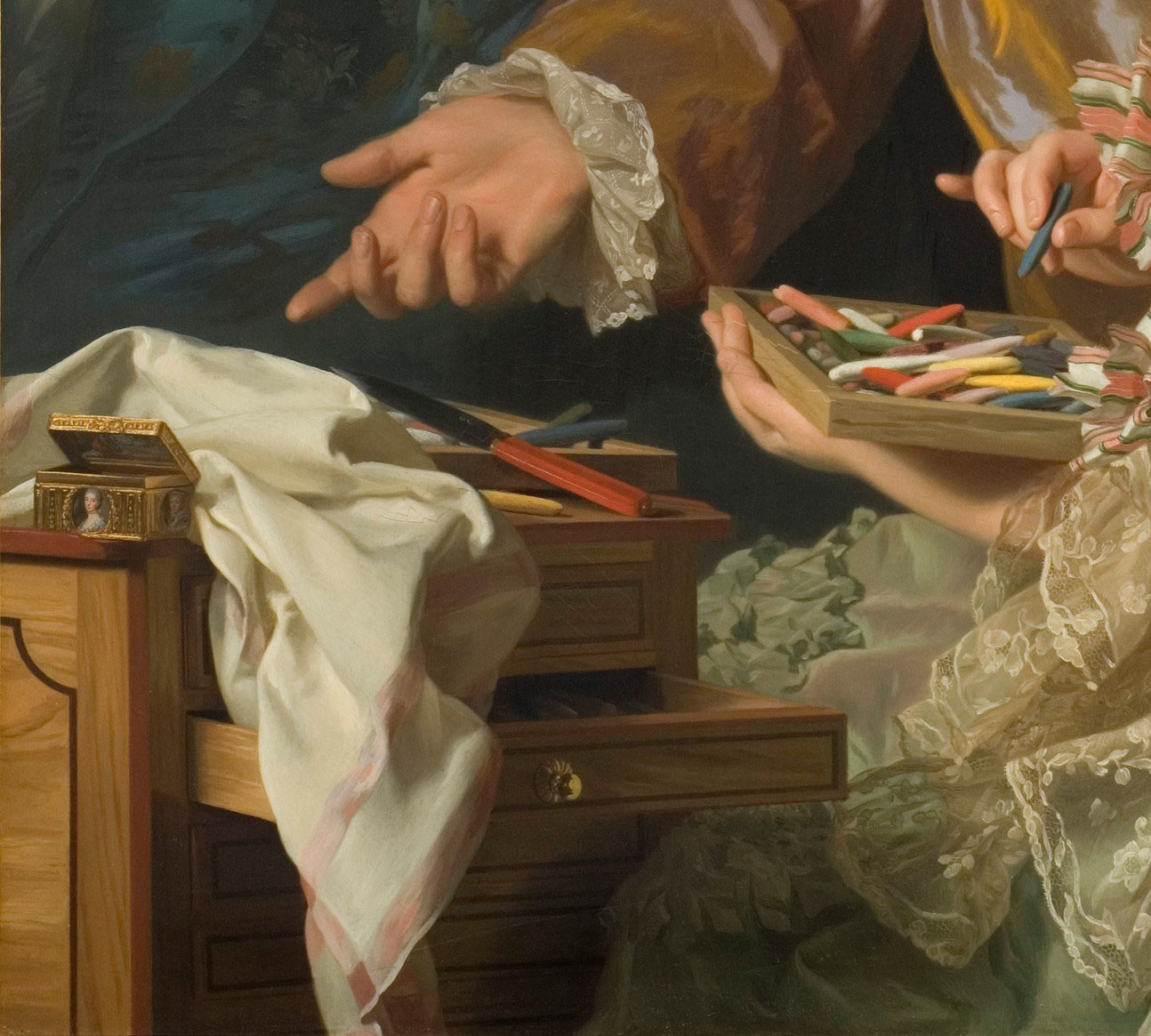 Alexander Roslin:The Artist with his wife Marie Suzanne Giroust painting a portrait of Henrik Vilhelm Peill. Detail. Alexander Roslin, 1767. © Nationalmuseum Stockholm